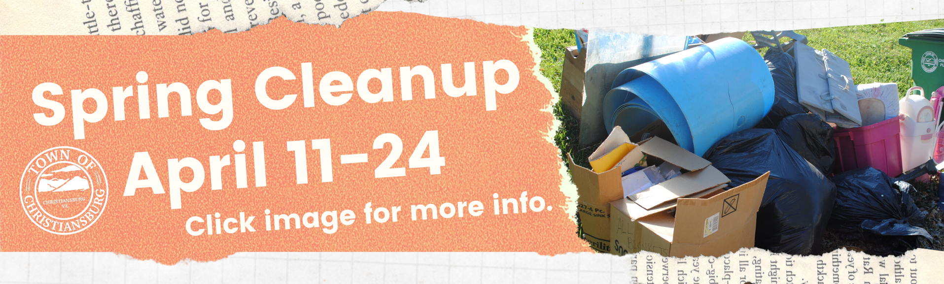 Spring Cleanup April 11-24, click image for more details.