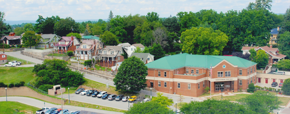 An aerial view of Town Hall.