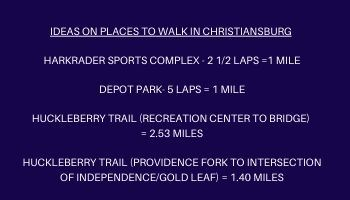 Places to walk in Christiansburg