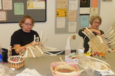 Basket weaving class participants