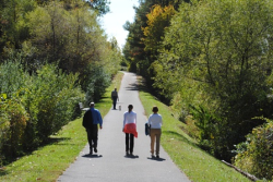 People walking on a trail through the park