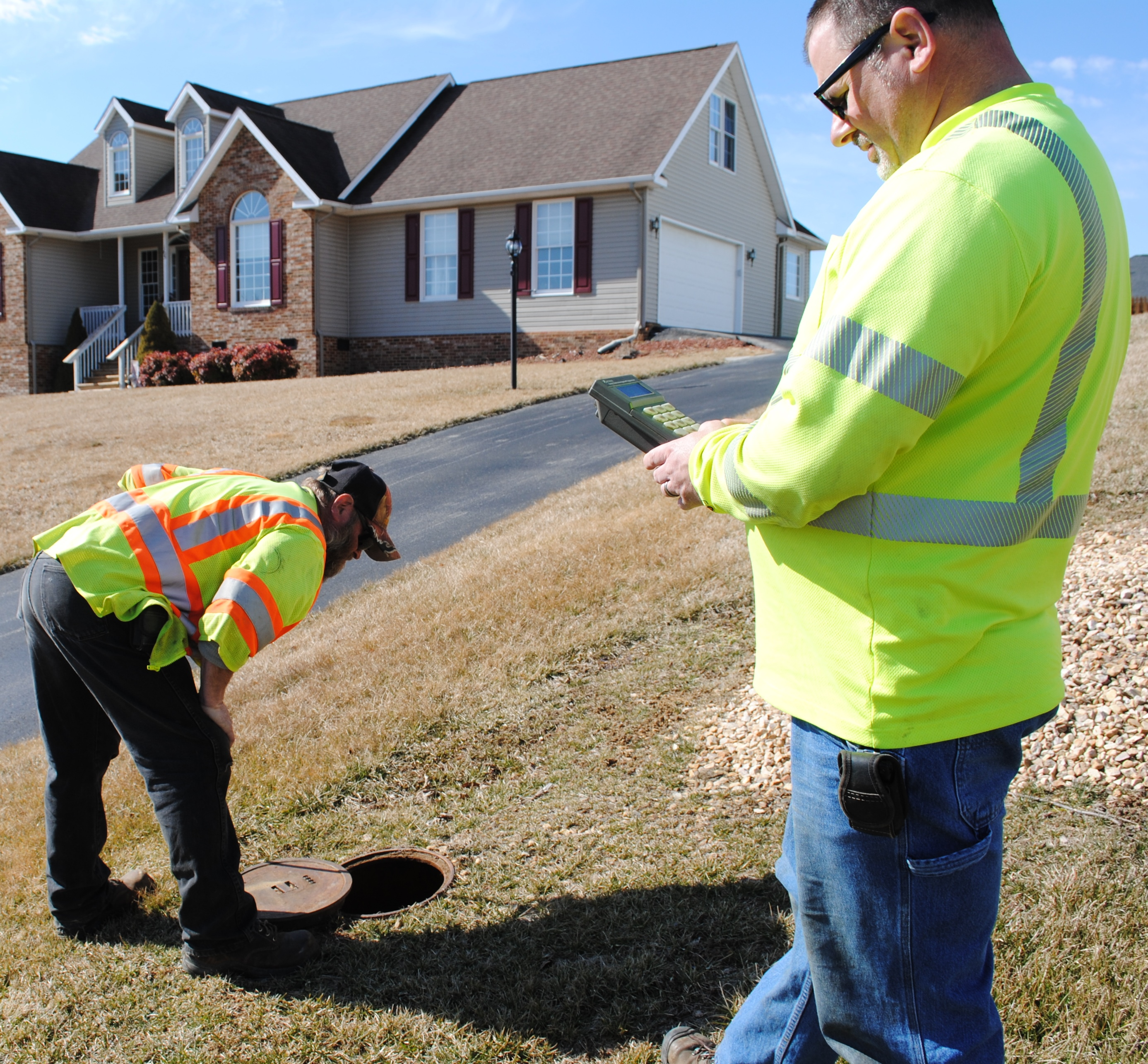 Crews read current water meters.